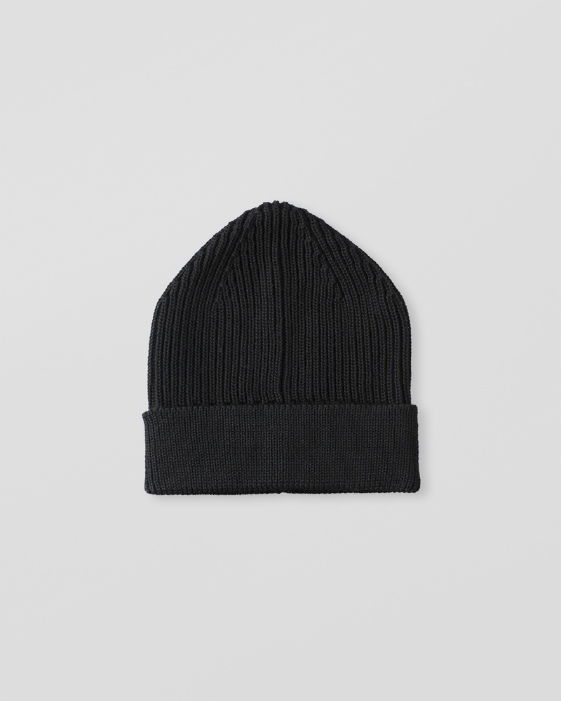 Image of UU1-1 Ribbed Wool Beanie Black