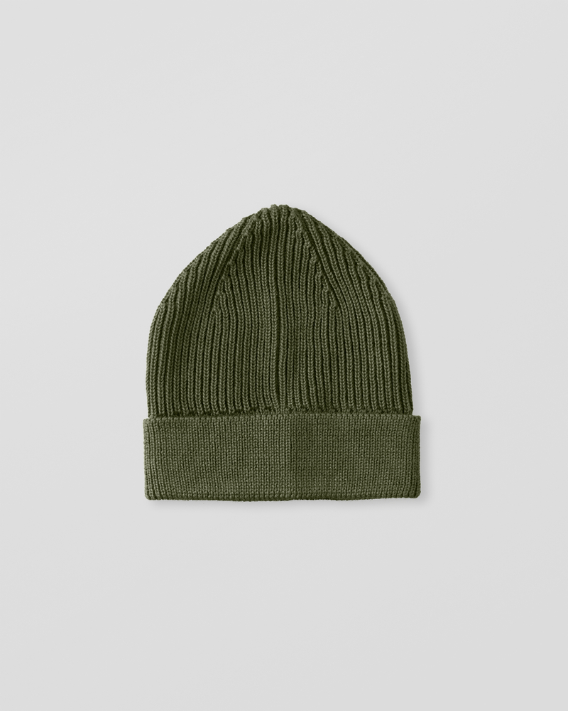 Image of UU1-1 Ribbed Wool Beanie Military Green