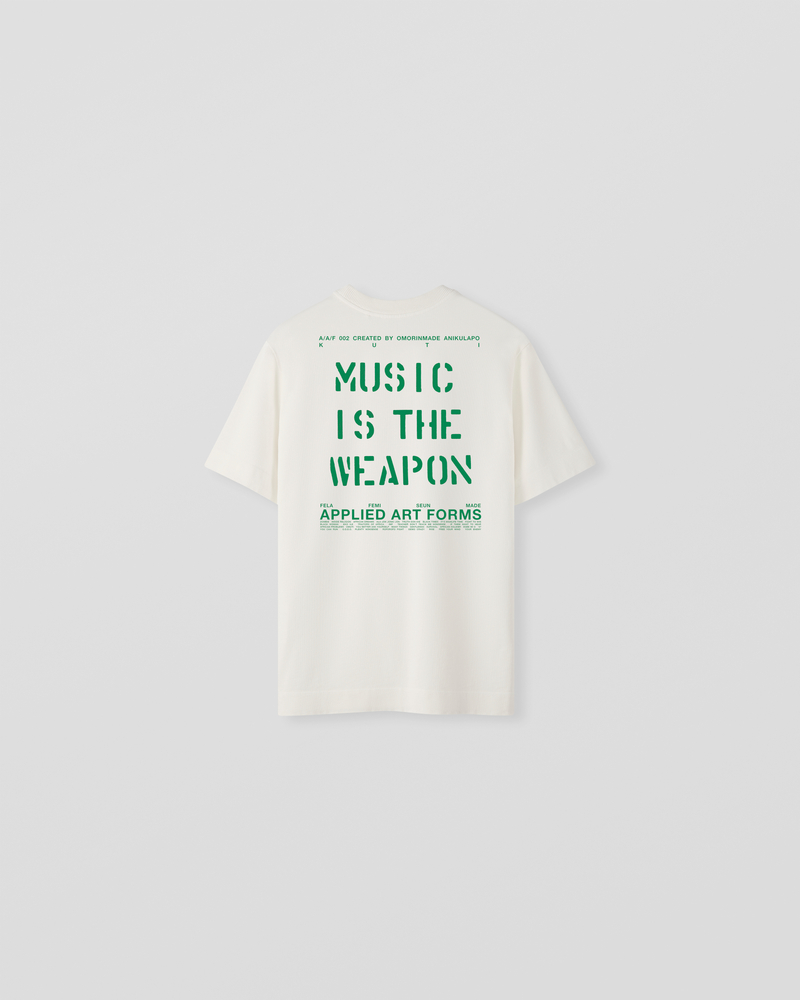 Image of LM1-1 KUTI | MUSIC IS THE WEAPON Printed Jersey T-Shirt Ecru
